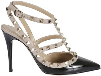 Valentino Pyramid Studded Ankle Strap Pumps