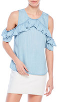 RD Style Cold Shoulder Ruffle Chambray Blouse