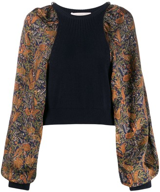 Christopher Kane Paisley Sleeves Knitted Jumper
