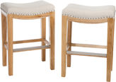 JCPenney Waylan Set of 2 Backless Saddle Barstools with Nailhead Trim