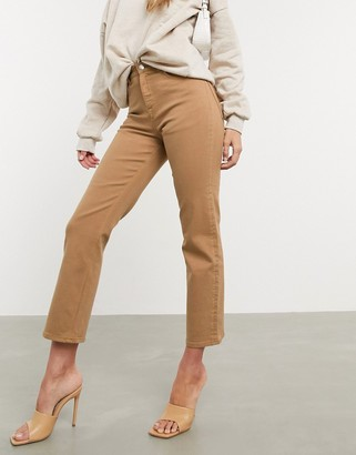 ASOS DESIGN high rise stretch 'slim' straight leg jeans in tan