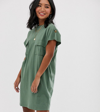 Asos DESIGN Petite utility t-shirt dress-Green