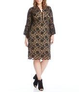 Karen Kane Plus Flare Sleeve Lace Dress