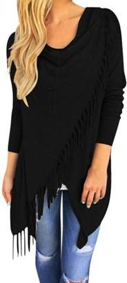VJGOAL Womens Autumn New Shawl Tops Knitted Fringed Pullover Waterfall Cardigan Poncho Cape Coat Shirt Slash Gradient Shawl Hem Fringe Blouse Hoodie(X-Large