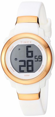 Timex Women's TW5M29400 DGTL Stacked Numbers 28mm White/Rose Gold Resin Strap Watch