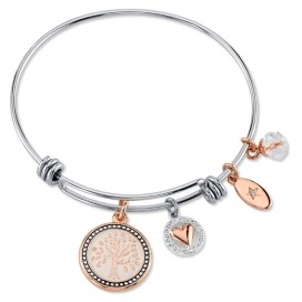 """Unwritten My Family, My Love"""" Family Tree Bangle Bracelet in Stainless Steel & Rose Gold-Tone with Silver Plated Charms"""