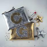 Jo-Jo JoJo Accessories Metallic Glitter Initial Zip Purse