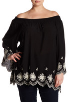Bobeau Embroidered Off-The-Shoulder Blouse (Plus Size)