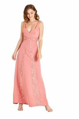 Little Mistress Miranda Orange Lace Plunge Maxi Dress 8 UK Desert Flower