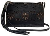 Black Floral Top-Zip Crossbody Bag
