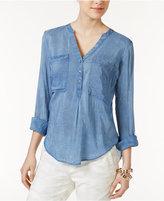 William Rast Selina Perfect Split-Neck Shirt