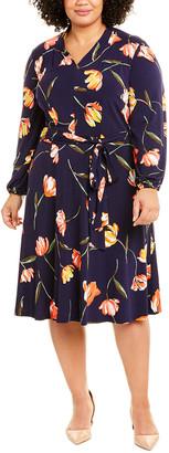 London Times Plus Bell Sleeve A-Line Dress