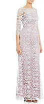 Kay Unger Metallic Lace Illusion Gown