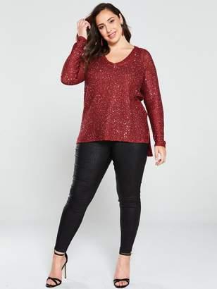 Junarose Curve Pilou Sequin Knit Pullover Top - Red