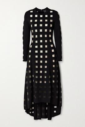 Akris Paneled Stretch-knit And Tulle Midi Dress - Black
