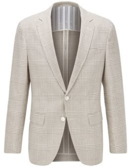 HUGO BOSS Checked Slim Fit Jacket In Cotton And Linen - Light Beige