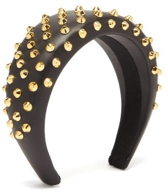 Prada Studded Leather Headband - Black
