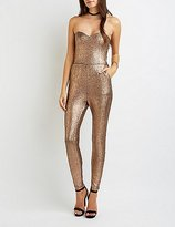 Charlotte Russe Shimmer Strapless Sweetheart Jumpsuit