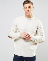 Bellfield 3d Jacquard Knitted Jumper With Elbow Patches