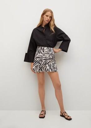 MANGO Ruffled printed miniskirt