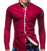 Elonglin Mens Casual Button Down Shirts Long Sleeve Contrast Color