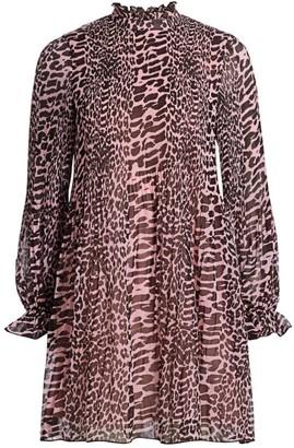 Ganni Pleated Animal Print Georgette Dress