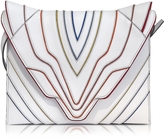 Elena Ghisellini Pochette Fatale White Multilines Leather Clutch