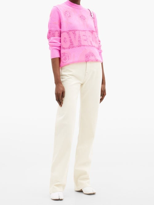 Thumbnail for your product : Charles Jeffrey Loverboy Logo-intarsia Sweater - Pink