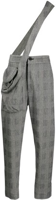 Chalayan Checked Dungaree Trousers