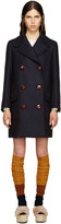Miu Miu Navy Wool Oversized Peacoat