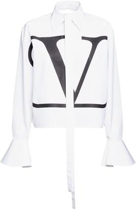 Valentino Logo Print Cotton Shirt W/ Flared Cuffs