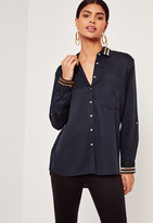 Missguided Tensile Gold Stripe Collar Shirt Navy