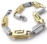 KONOV Stainless Steel Link Mens Bracelet, Gold Silver, 9 Inch