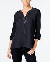 INC International Concepts Petite Roll-Tab Henley, Only at Macy's