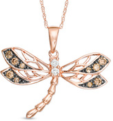 Zales 1/4 CT. T.W. Champagne and White Diamond Dragonfly Pendant in 10K Rose Gold