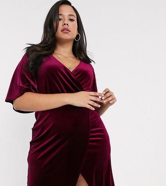 Simply Be wrap mini dress with angel sleeves in burgundy velvet