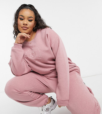 ASOS DESIGN Curve tracksuit oversized sweat with embroidery / oversized jogger in pink marl