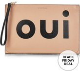 Whistles Oui Non Printed Clutch -Nude/Black
