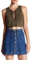 En Creme Knit Criss Cross Tie Crop Top