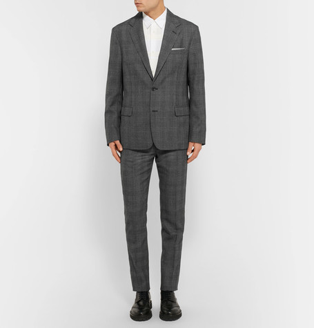 Maison Margiela Grey Slim-Fit Prince of Wales Checked Woven Trousers