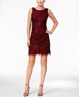 Sandra Darren Petite Sequined V-Back Sheath Dress