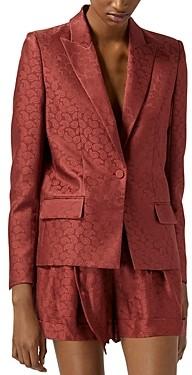 The Kooples Pink Jacquard Satin Suit Jacket