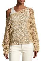 Ralph Lauren Crochet Oversized Boat-Neck Sweater, Beige