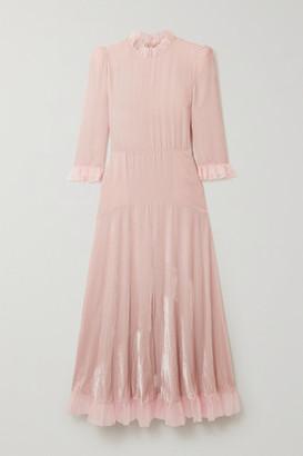 Philosophy di Lorenzo Serafini Tulle-trimmed Velvet Midi Dress - Baby pink