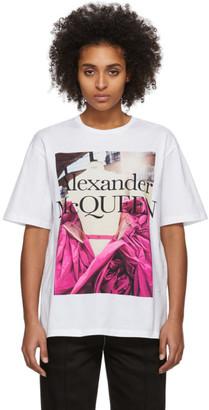 Alexander McQueen White Pink Rose T-Shirt
