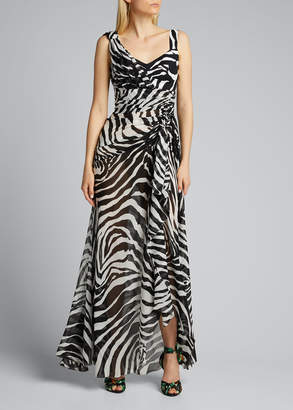 Dolce & Gabbana Sheer Zebra-Striped Gown