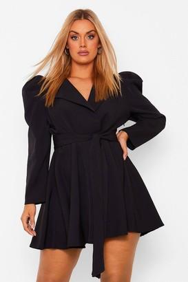 boohoo Plus Puff Sleeve Belted Wrap Blazer Dress