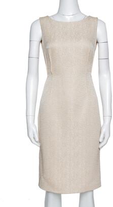 Carolina Herrera Beige Textured Sleeveless Sheath Dress S