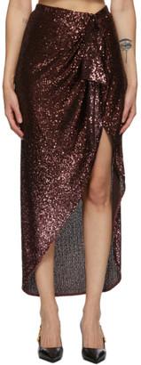Balmain Brown Sequinned Pareo Skirt
