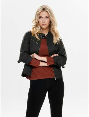 Only Faux Leather Biker Bomber Jacket